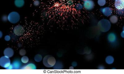 bleu, cadre, feux artifice, defocused, lumières