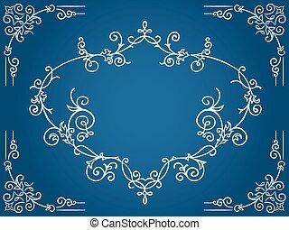 bleu, cadre, filigrane, cartouche, orné