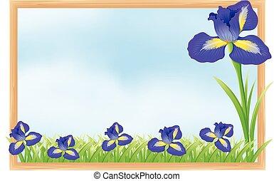 bleu, cadre, fleurs, conception