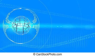 bleu, cadre, globe transparent