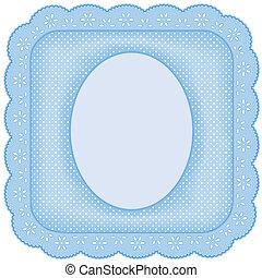 bleu, cadre graphique, dentelle, oeillet