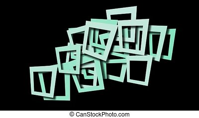 bleu, cadre, résumé, carrée
