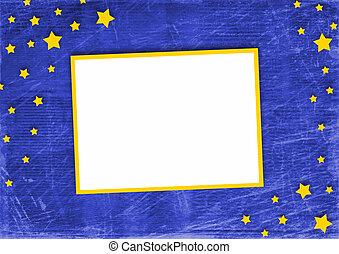 bleu, cadre, résumé, fond, étoiles