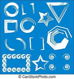 bleu, cadres, géométrique, ensemble, fond