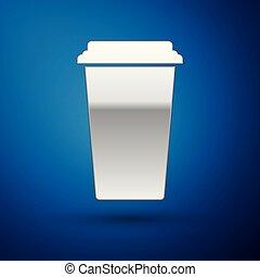 bleu, café, coffee., tasse, jetable, isolé, illustration, arrière-plan., chaud, vecteur, argent, icône