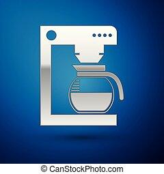 bleu, café, verre, pot, isolé, illustration, machine, arrière-plan., vecteur, argent, icône