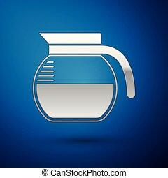 bleu, cafetière, isolé, illustration, arrière-plan., vecteur, argent, icône