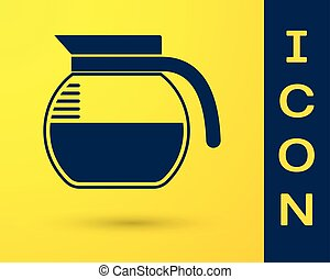 bleu, cafetière, isolé, jaune, arrière-plan., vecteur, illustration, icône
