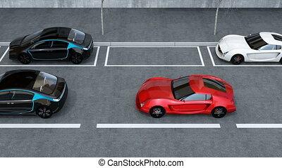 bleu, camion, éviter, accident, trafic