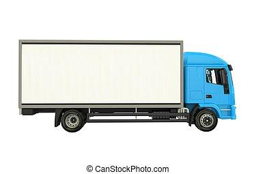 bleu, camion cargaison