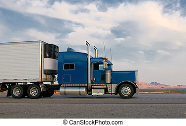bleu, camion, en mouvement, autoroute