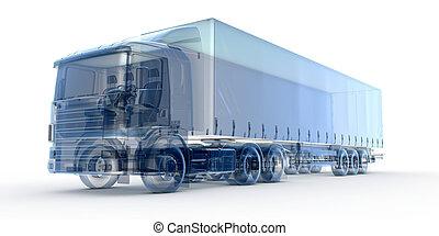 bleu, camion, rayon x