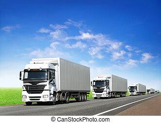 bleu, camions, caravane, ciel, sous, blanc, autoroute