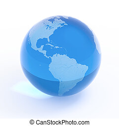 bleu, canada, usa, globe, -, terre planète