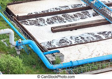 bleu, canalisations, à, oxygène, fourniture, pour, eau, aération, dans, une, usine industrielle