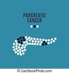 bleu, cancer, affiche, monde médical, pancreatitic, fond