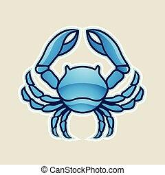 bleu, cancer, illustration, vecteur, lustré, crabe, ou, icône