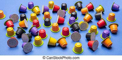 bleu, capsules, café, eco, express, compostable, fond,...