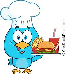 bleu, caractère, chef cuistot, oiseau, dessin animé