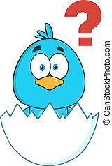 bleu, caractère, mignon, oiseau, dessin animé