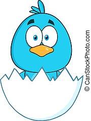 bleu, caractère, oiseau, surpris