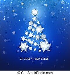 bleu, card., arbre, salutation, illustration, flocon de neige, arrière-plan., vecteur, noël blanc
