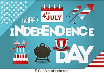 bleu, card., july., salutation, arrière-plan., vecteur, quatrième, jour, indépendance, illustration.