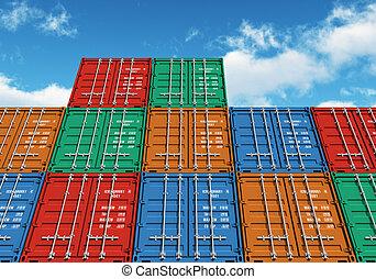 bleu, cargaison, empilé, couleur, sur, ciel, récipients