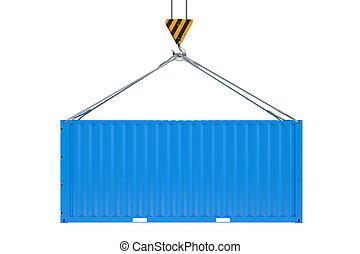 bleu, cargaison, grue, récipient, crochet