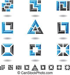 bleu, carrés