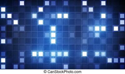 bleu, carrés, loopable, fond, scintillement