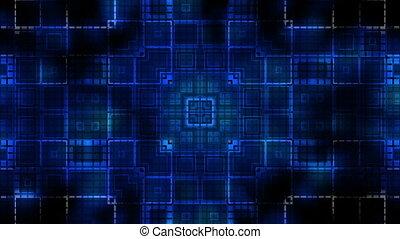 bleu, carrés, vj, cg, pouls, faire boucle, fond, géométrique, animé
