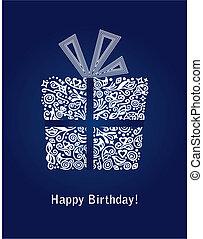 bleu, carte anniversaire, heureux