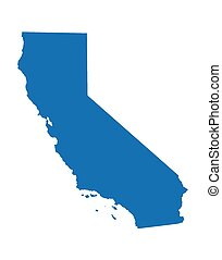 bleu, carte, californie