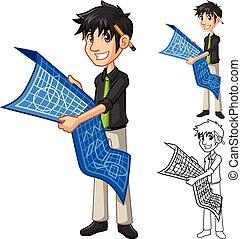 bleu, carte, caractère, projet architecte, tenue, impression, homme affaires, dessin animé