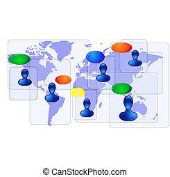 bleu, carte, communiquer, mondiale, gens
