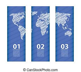 bleu, carte, croquis, conception, blanc, bannière, spécial