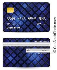 bleu, carte, dos, crédit, vecteur, devant, spécial, vue