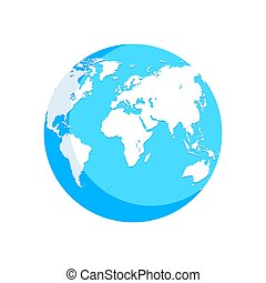 bleu, carte, globe, illustration, mondiale, blanc