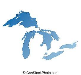 bleu, carte, grand, gradient, lacs, version
