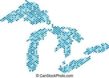 bleu, carte, grands lacs, point
