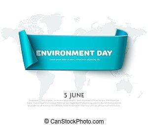bleu, carte, isolé, environnement, papier, conception, mondiale, blanc, bannière, jour, ruban