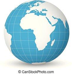 bleu, carte, méridiens, mers, globe, océans, illustration, parallels., vecteur, concentré, mince, afrique., mondiale, blanc, la terre, 3d