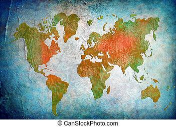 bleu, carte, mondiale, fond, vendange