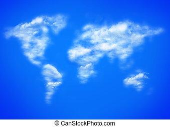 bleu, carte, nuages, worlwide, ciel
