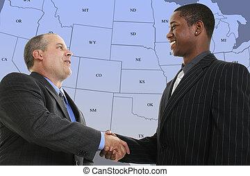 bleu, carte, poignée main, nous, état, hommes affaires,...
