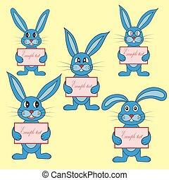 bleu, carte postale, vecteur, lapin