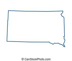 bleu, carte, résumé, dakota sud