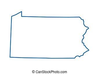 bleu, carte, résumé, pennsylvanie, contour