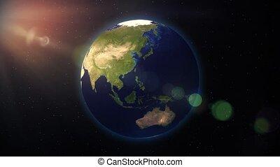 bleu, carte, satellite, tourner, espace, globe, terre tournant, mondiale, marbre